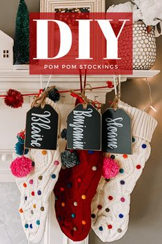 DIY Pom Pom Christmas Stockings