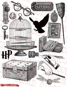 HARRY POTTER Digital Collage Sheet - Download and print - Great for stickers sheets, print graphics, scrapbook, card, gift tag (17 pieces). $2.99, via Etsy.