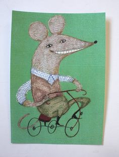Bicycle mouse / Print of an original drawing / Green by Tosya, $15.00