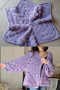 """Super Chunky Hexagon Cardigan - Free Crochet Pattern If you've never crocheted a """"hexagon cardigan"""" before, you are in for a treat. This might just be my new favorite way to. Quick Crochet, Chunky Crochet, Crochet Yarn, Free Crochet, Hexagon Crochet, Crochet Shrugs, Crochet Cushions, Crochet Blocks, Crochet Sweaters"""