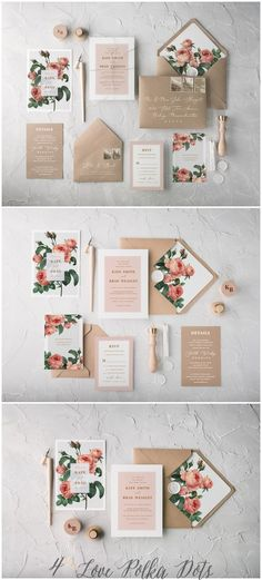The Ethereal wedding invitation suite combines beautiful botanical printing with eco kraft papers and romantic calligraphy. Muted tones and soft colour palettes complete the design. Fully assembled we Diy Invitation, Wedding Invitation Kits, Laser Cut Wedding Invitations, Beautiful Wedding Invitations, Wedding Stationery, Event Invitations, Invites, Wedding Crafts, Diy Wedding