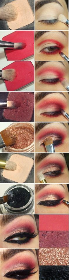 Tendance Maquillage Yeux 2017 / 2018   Rouge  or .