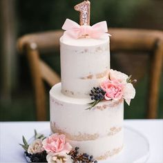 The sweetest naked cake for a little cuties 1st birthday party! @sugarbranchevents we can't wait to work together again! Photo by @joshelliott