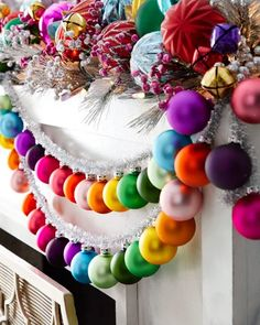 Cody Foster & Co Rainbow and Tinsel Large Silver Garland Cody Foster & Co Regenbogen und Lametta Große silberne Girlande Winter Christmas, Christmas Home, Christmas Crafts, Rainbow Christmas Tree, Christmas Ideas, Diy Christmas Garland, Silver Tinsel Christmas Tree, How To Decorate For Christmas, Whimsical Christmas Trees