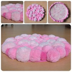 Discover thousands of images about Round Pom Pom Rug Pompom Area Rug Bedroom Rug Bath Rug Pom Pom Crafts, Yarn Crafts, Diy Pom Pom Rug, Round Bathroom Rugs, Rainbow Centerpiece, Fluffy Rug, Washable Rugs, Barbie Furniture, Nursery Rugs