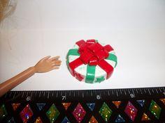 1:6 Dollhouse Miniature Handcrafted Christmas Red Green Bow Cake Dessert Barbie #SweetPeaToysMiniatures