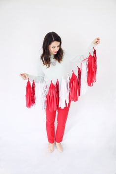 Red, White and Silver Tassel Garland - Holiday Decor, Christmas Party Decoration, Red Tassel Garland, Christmas Mantel Decor
