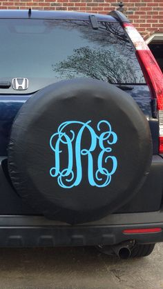 Monogrammed Tire Cover - This will look so cute on my future black Jeep Wrangler Unlimited(;