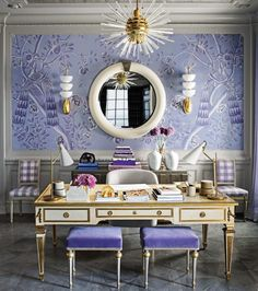 Because of some reasons, we usually find out that our rooms at home are dark or look dark. This situation is not beneficial for us. Here are a number of designer trick on how to brighten up a dark room you can try. Elle Decor, Mary Mcdonald, Purple Rooms, Formal Living Rooms, Home Office Decor, Interior Inspiration, Guest Bedrooms, The Help, Art Nouveau
