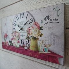 Shabby-Chic-De-Madera-Paris-Francia-Reloj-De-Pared-En-Floral-Vintage-Box-Lona-Impresion