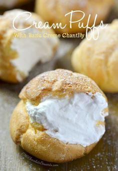 Cream Puffs.  Almost the same as I make, I do not add sugar, and after two minutes put all four eggs in at one time, and use a spoon to put them on the parchment paper. Small puffs can also used for hors d'oeuvres, suffing with your favorite filling. They are Good.ap