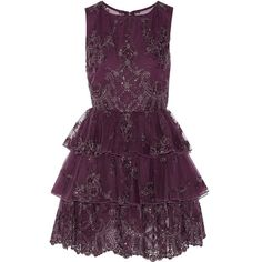 Alice + Olivia Rowley ruffled tulle and organza mini dress ($399) ❤ liked on Polyvore featuring dresses, short dresses, purple, vestidos, sequin slip dress, metallic cocktail dress, short purple dresses, short sequin dress and embroidered dress