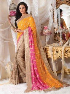 Yellow Viscose Saree With Embroidery Work