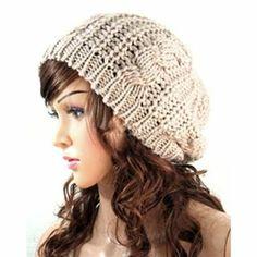 Womens Warm Crochet Baggy Beanie Hat