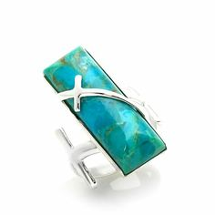 """Jay King Turquoise """"Cross"""" Sterling Silver Ring"""