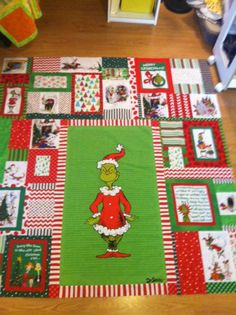 Grinch Quilt in Progress. Cannot wait to have this on my bed at Christmas time. Christmas Quilt Patterns, Christmas Quilting, Baby Quilt Patterns, Christmas Sewing, Quilting Patterns, Christmas Projects, Quilting Ideas, Quilting Projects, Grinch Christmas Decorations