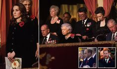 The Duchess of Cambridge, The Queen, and Prince Philip looked sombre at the Festival of Remembrance on Saturday evening as Princes William and Harry watched rugby matches.
