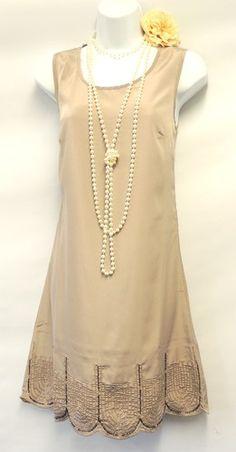 New Ladies Vtg 1920s 30s Style Downton Abbey Beaded Flapper Charleston Dress | eBay