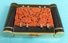 Rare French Art Deco 14k Gold Enamel & Coral Compact Minaudiere Diamonds Ca 1930 uk.picclick.com