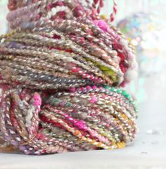 Wool Yarn / Merino Yarn / Frosted Flowers - 106 yards - Handspun Plyed Novelty Yarn by Atomicblue