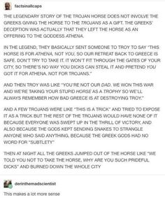 In the movie Troy it was for Poseidon, but that movie is REALLY inaccurate at times so I'll just take their word for it that it was an offering to Athena.