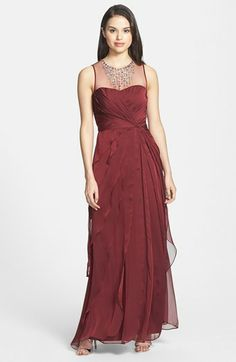 Bridesmaid dress 1 possibility: Adrianna Papell Embellished Twist Front Mesh Gown available at #Nordstrom