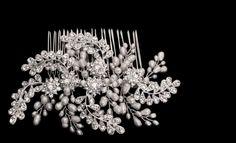Gorgeous Freshwater Pearl and Silver Rhinestone Leaf Design Bridal Wedding Comb