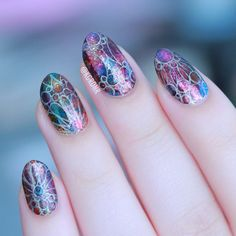 Stained Glass Nail Art inspired by Gaudí for #WNAC2015 | Lacquerstyle.com | kgrdnr