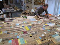 Artists Duncan Johnson working in his studio in Hartford, VT