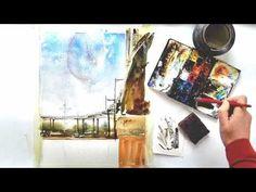 Marquam Bridge Watercolor Painting Demonstration Video by Vinita Pappas
