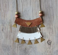 Leather and Brass Necklace - Featured Goods | Uncovet
