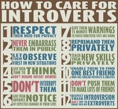 "How to Care For The Introverts in Your Life .a really great infographic for dealing with the different personality types in your life. ""Are You An Introvert Or An Extrovert? What It Means For Your Career"" -Wash. Info Board, Just In Case, Just For You, Ignorance, All Meme, Extroverted Introvert, Enfj, Infj Infp, Learning"