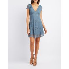 Charlotte Russe Lace V-Neck Skater Dress ($33) found on Polyvore featuring women's fashion, dresses, goblin blue, blue skater dress, v neck skater dress, low v neck dress, lace skater dress and lace cap sleeve dress
