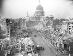 Cannon Street, looking toward St Paul's Cathedral, virtually unscathed, after ceaseless German air raids, in 1942. Photograph: Bettmann/Corbis