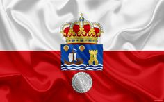 Download wallpapers Flag of Cantabria, autonomous community, province, Cantabria, Spain, silk flag, Cantabria coat of arms