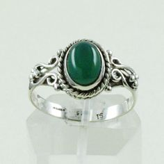 GENUINE GREEN ONYX 925 STERLING SILVER RING SIZE US 8 #SilvexImagesIndiaPvtLtd #Statement
