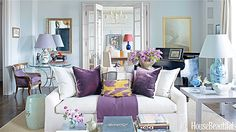 I love the color combination of the pale blue with purple accents. Very refreshing.