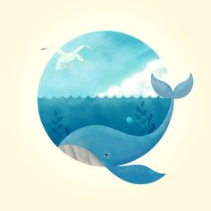 Whale & Seagull (US and THEM) Art Print by ErDavid | Society6
