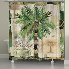 Add a touch of tropical beauty to your bathroom décor with the Laural Home Palm Scrapbook Shower Curtain. Featuring colorful collage of palm tree images this polyester shower curtain is machine washable and easy to care for. Poster Wall, Poster Prints, Posters, Style Scrapbook, Coastal Colors, Curtain Accessories, Deep Pocket Sheets, Pillow Top Mattress, Satin Sheets