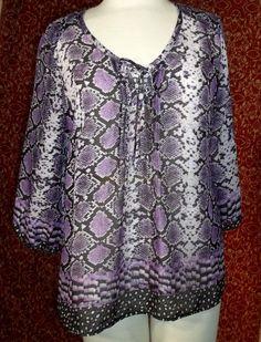 DANA BUCHMAN purple snake skin bohemian tunic blouse M (T44-02C7G) #DanaBuchman #Blouse #Casual