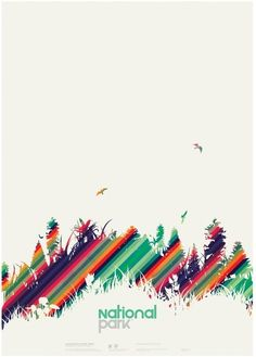 Crisp, clean, and colorful vector poster design for the National Park by New Zealand graphic designer, Jeremy Evans. Graphic Design Posters, Graphic Design Typography, Graphic Design Illustration, Graphic Design Inspiration, Forest Illustration, Flyer Design, Layout Design, North Design, National Park Posters