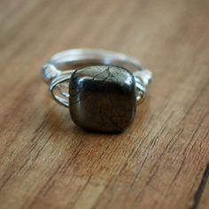Square Hematite Stone Ring