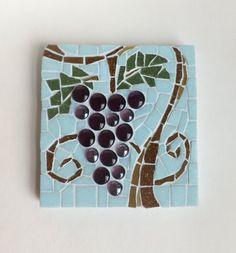 Grapes, grapevine mosaic art, fruit wall decor