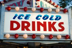 Ice Cold Drinks sign at a carnival. Carnival Signs, Fete Ideas, School Fair, Drink Signs, Cold Drinks, Royalty Free Images, Ice, Roof Top, Party