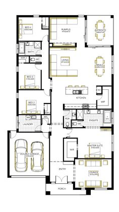 Browse the various home designs and house plans on offer by Carlisle Homes across Melbourne and Victoria. Find great house plans and home designs for your needs. Sims House Plans, New House Plans, Dream House Plans, House Floor Plans, Carlisle Homes, House Construction Plan, 4 Bedroom House Plans, Home Design Floor Plans, House Blueprints