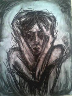 "Saatchi Art Artist Natalia Chmura; Drawing, ""Depression"" #art Depression Art, Depression Support, Art Steampunk, Steampunk Necklace, Art Hipster, Migraine Art, Dark Art, Pencil Drawings, Human Figures"