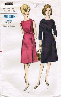Vintage 1963 Vogue 6050 Sewing Pattern Misses's Dress