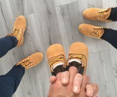 Pregnancy announcement Timberland shoes for three