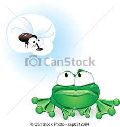 Vector - Frog with fly - stock illustration, royalty free illustrations, stock clip art icon, stock clipart icons, logo, line art, EPS picture, pictures, graphic, graphics, drawing, drawings, vector image, artwork, EPS vector art