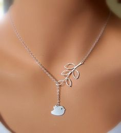 Cute Bird and Branch necklace in SILVER